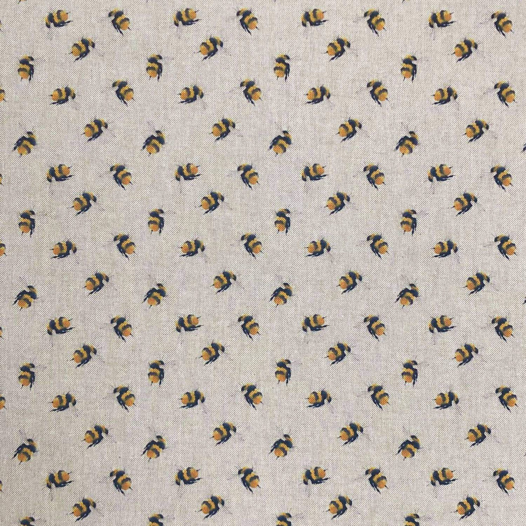 Watercolour bee fabric with bumblebees on a linen fabric - perfect for crafting