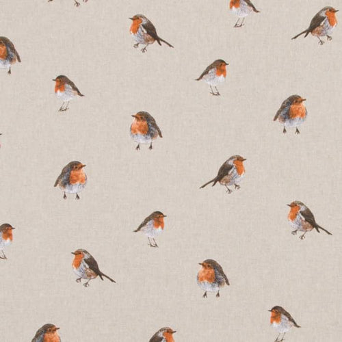 Robin Watercolour fabric on linen super cute and very subtle christmas fabric