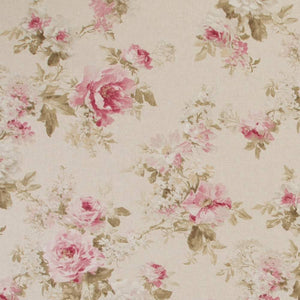 Watercolor rose fabric on a linen background - next day delivery on crafting fabrics