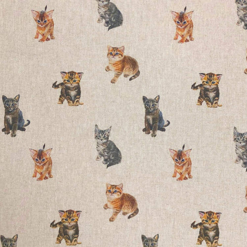Watercolour kitten fabric on linen - super cute cat fabric perfect for crafting and quilting