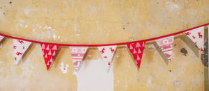 Red and White handmade christmas bunting - Christmas Decorations for Country Homes - Handmade in Yorkshire