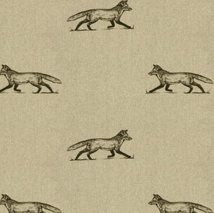Woodland Friends Samantha Fox Print Fabric on Linen - Woodland Friends Fabric Collection