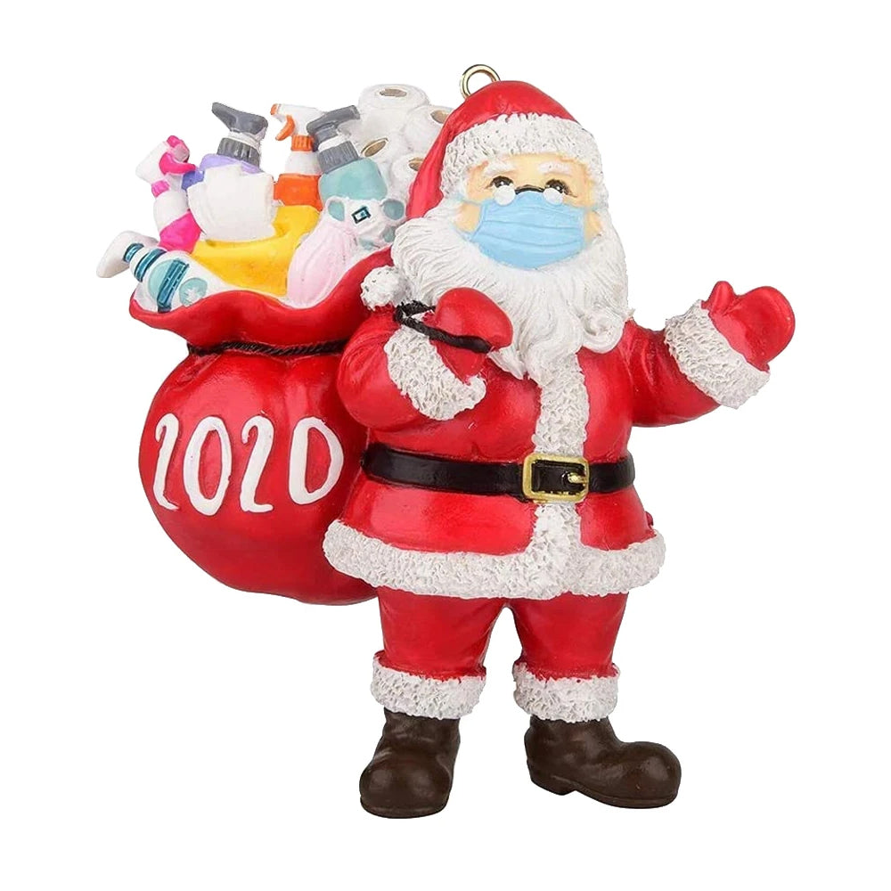 2020 Quarantine Survivor Santa Claus Christmas Ornaments Wearing Mask And Carrying All Essentials