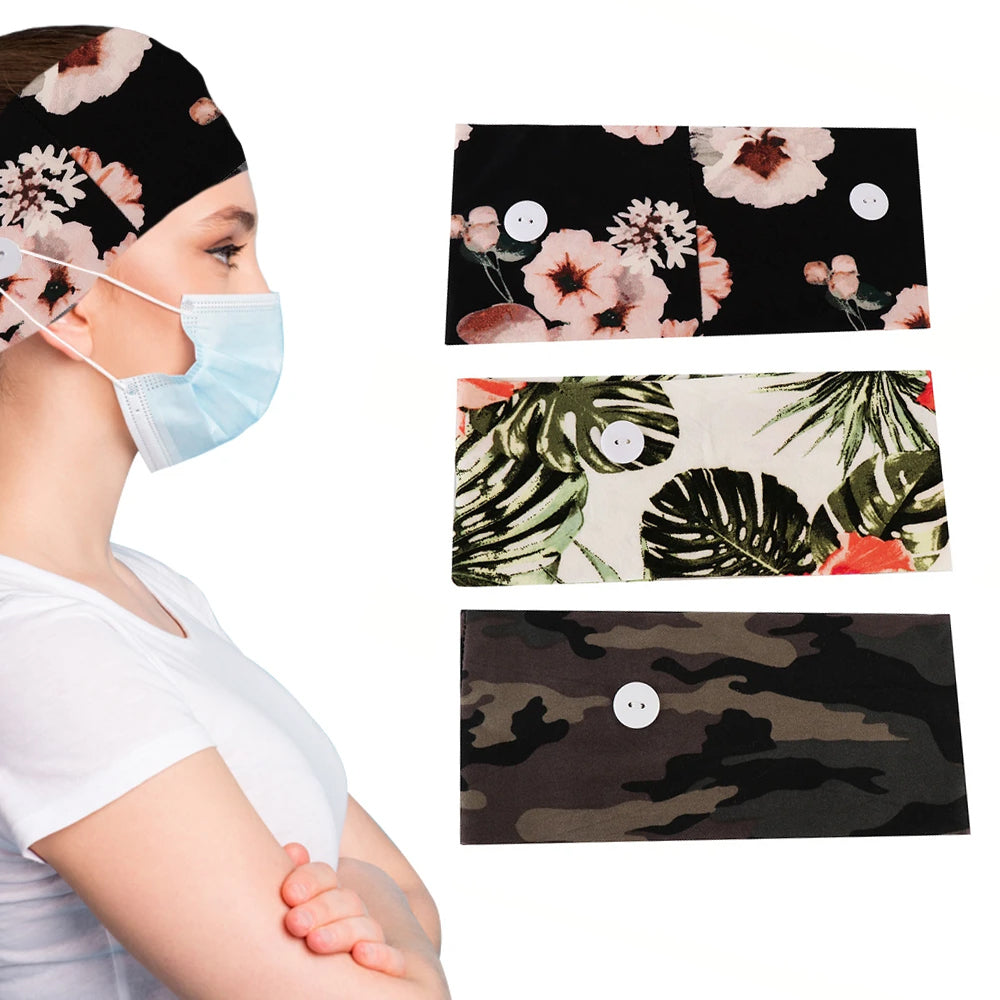 Women's Comfy Stretchy Headband With Buttons For Masks & Covers(3-Pack)