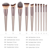 Professional Coffee-Colored Glow Makeup Brush Set (10-Piece)