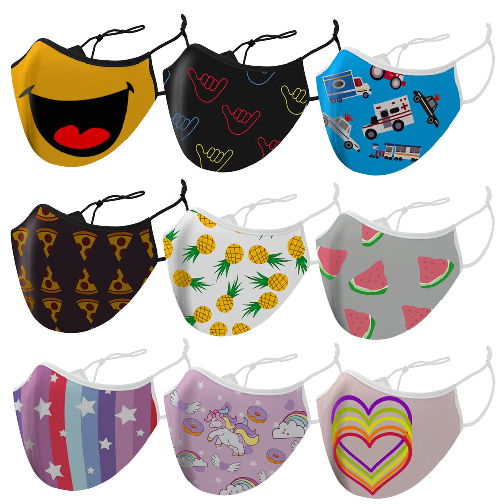 9-Pack: Double-Layered Fun Patterned All Day Wear Reusable Face Mask For Kids With Adjustable Earloops