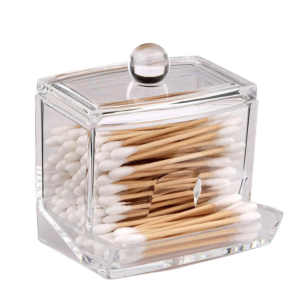 Acrylic Q-Tip / Ear Wax Swab Storage and Dispenser Great for Bobby Pins & Toothpicks (1-Pack or 2-Pack)