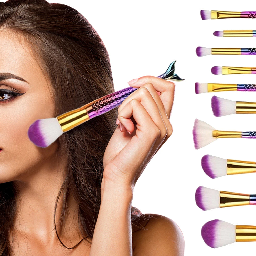 Professional Mermaid Cosmetic Makeup Brush Set (10-Piece)