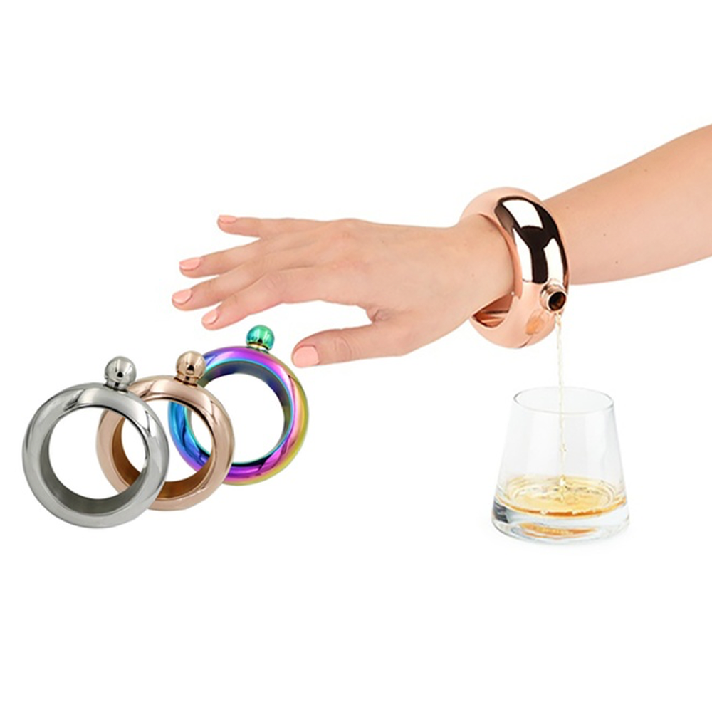 Stainless Steel Bracelet Flask (4-Colors)