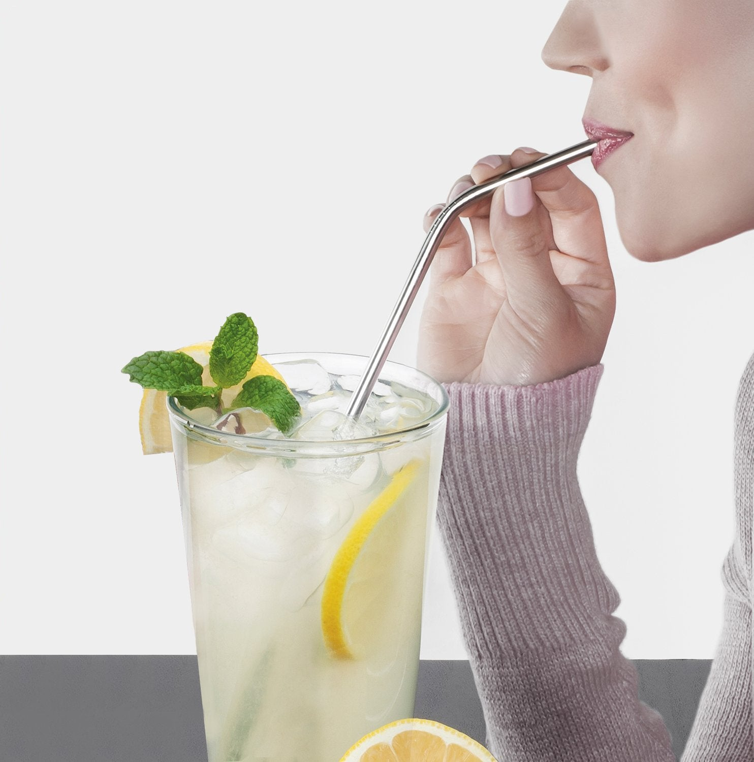 Collapsible, Portable, And Reusable Stainless Steel Drinking Straw With Case