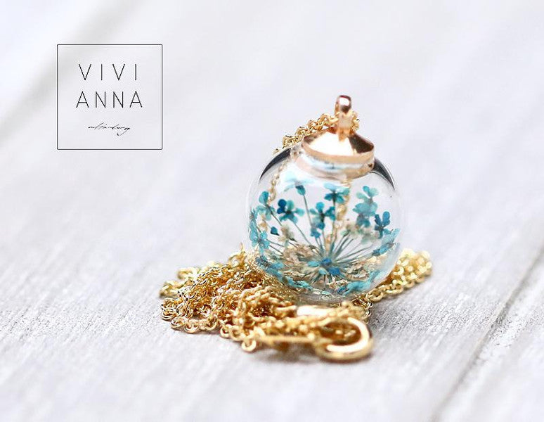 Mini vergoldtete Set mit türkise Dillblüten set030