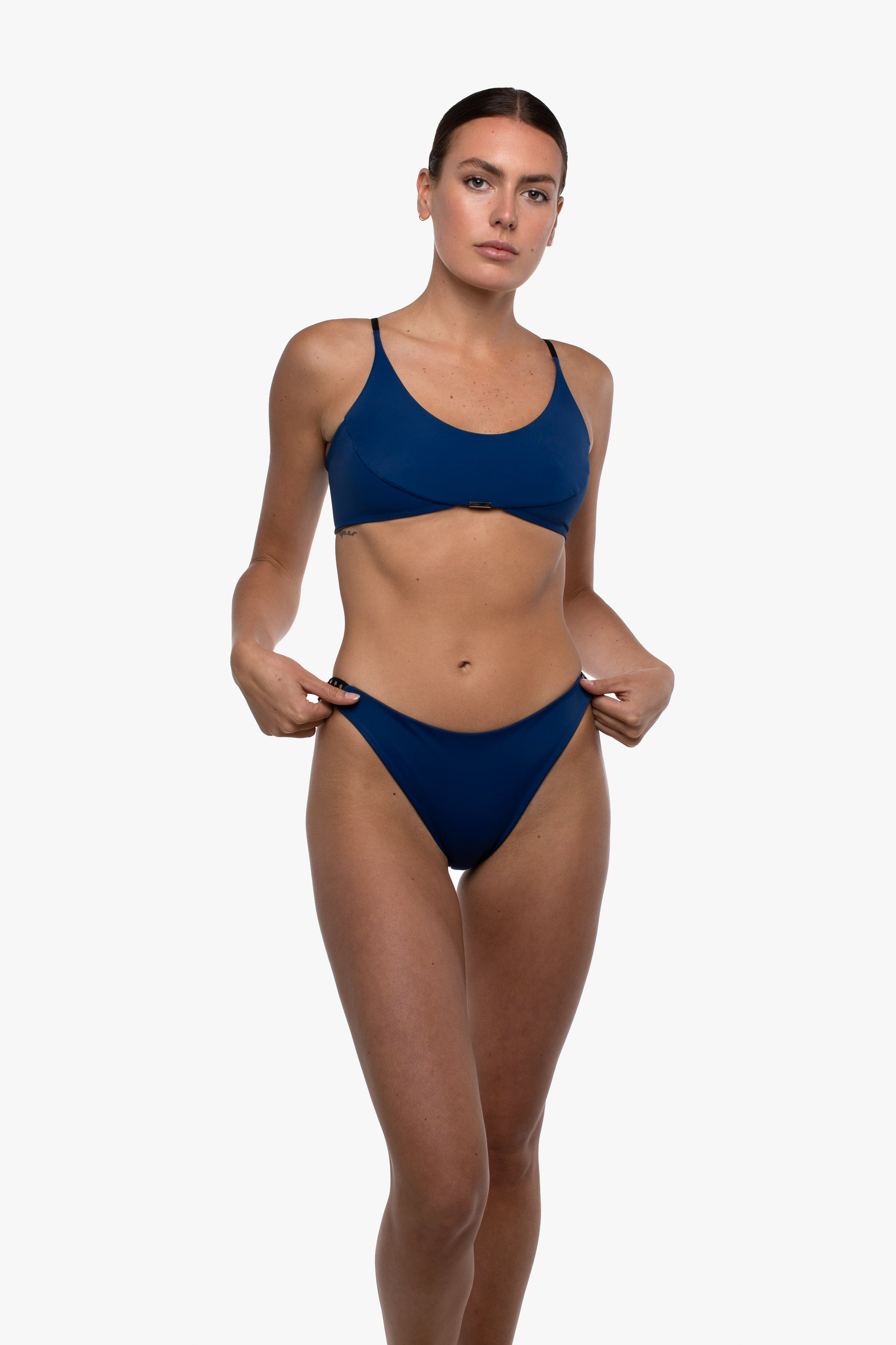 Lahni Star Studded Reversible Bikini Bottoms Belize Blue - Cumin