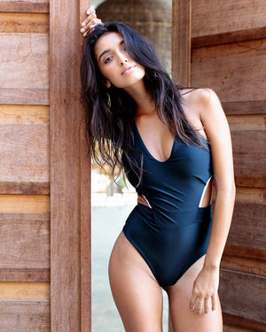 Black with white details swimsuit Long Nights One Piece high waisted swimsuit. Vintage style. Front view.