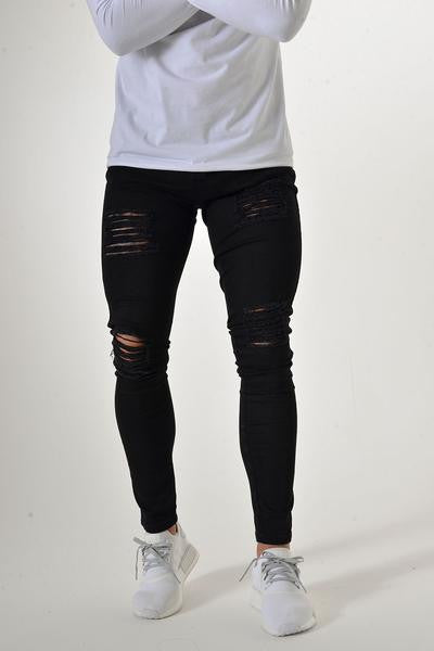 Sinners Attire Ripped and Repaired Jeans - Black