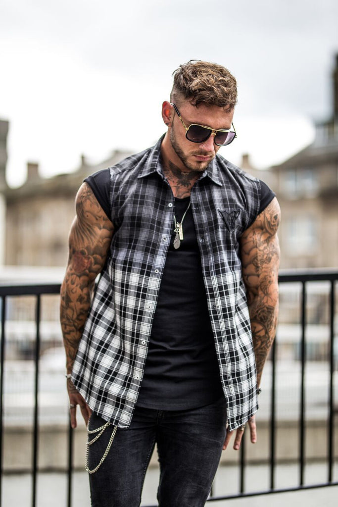 Volé La Lumière Dip Dye Curved Hem Sleeveless Checked Shirt - Black/White