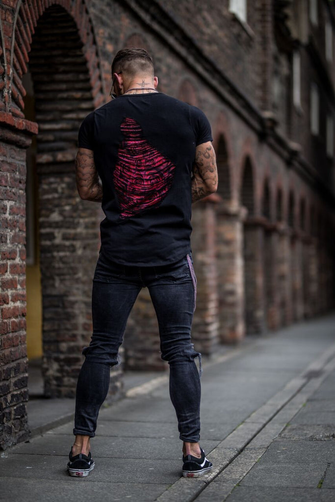 Volé La Lumière Distressed Rose Back Curved Hem T-Shirt - Black