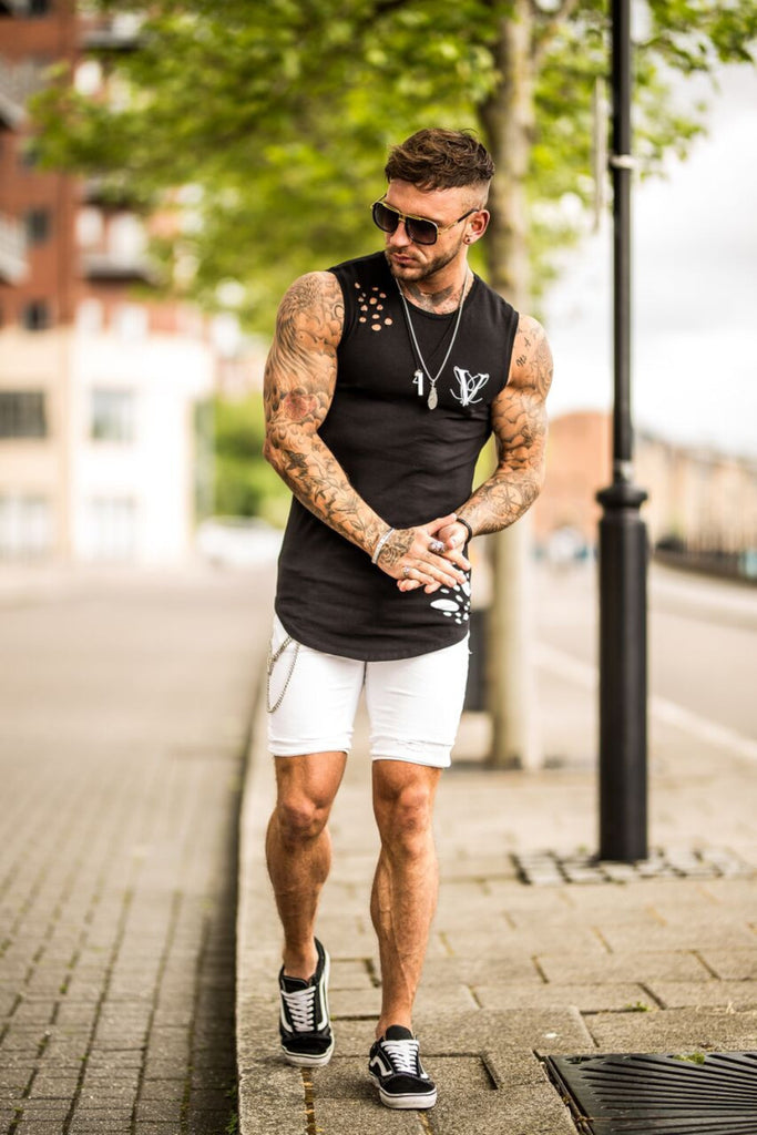 Volé La Lumière Sleeveless Ripped Longline T-Shirt - Black