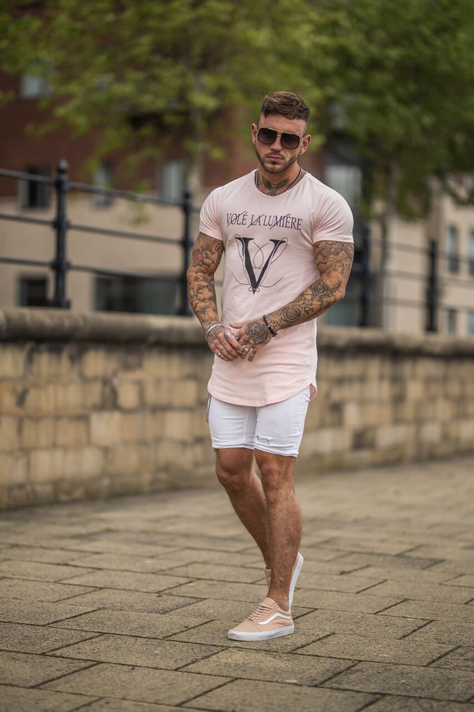 Volé La Lumière Large Logo Curved Hem T-Shirt - Rose Quartz