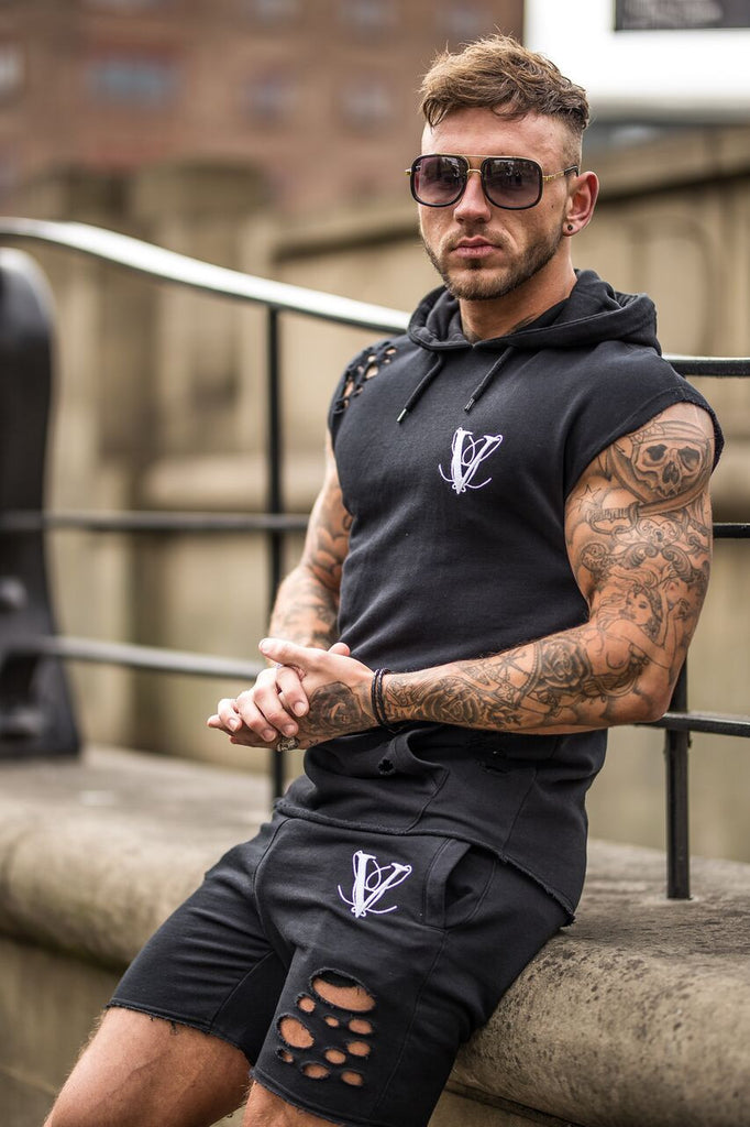 Volé La Lumière Sleeveless Curved Hem Ripped Hoodie - Black