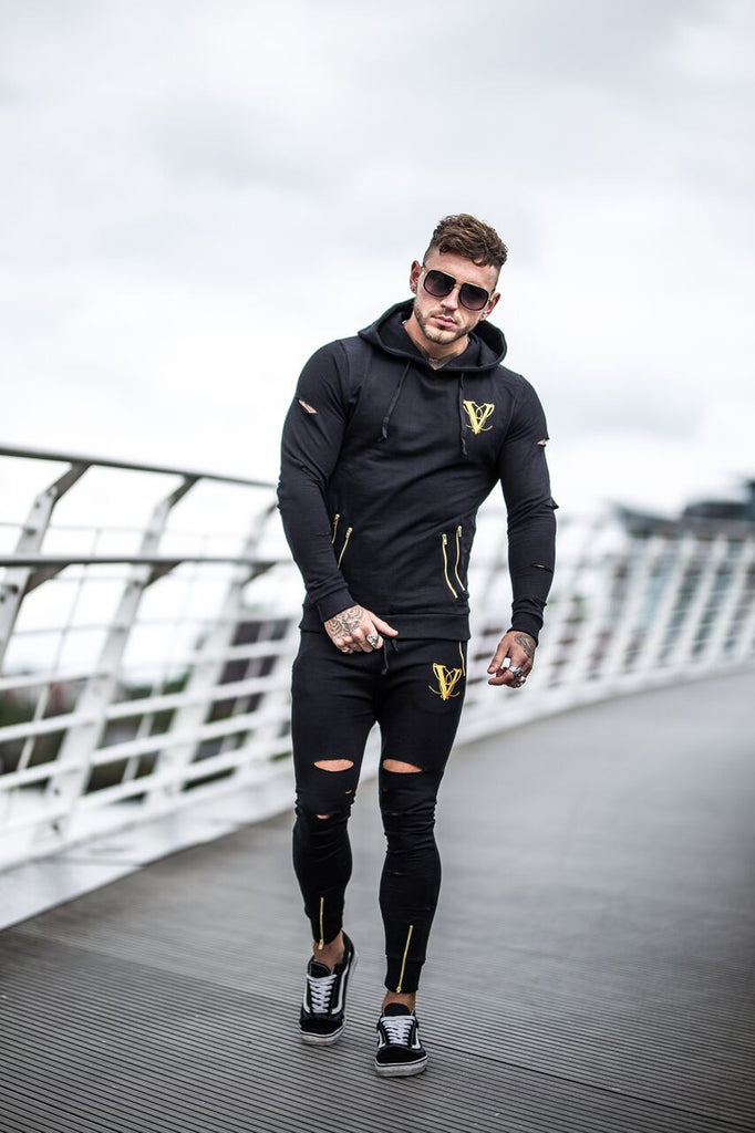 Volé La Lumière Fitted Ripped And Zipped Sleeved Hoodie - Black