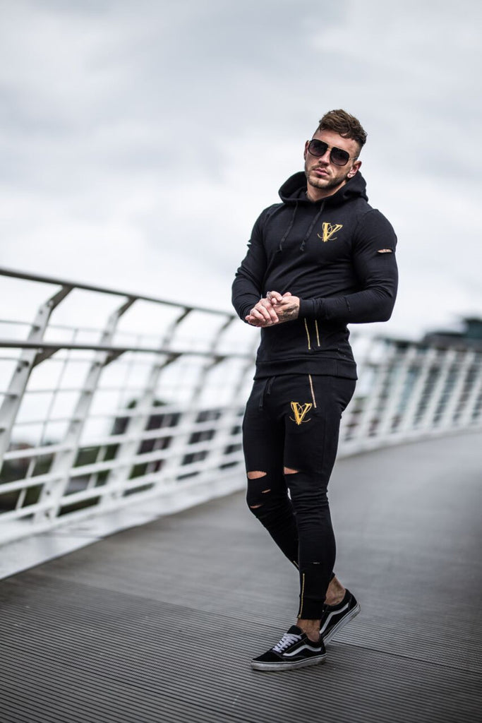 Volé La Lumière Fitted Ripped And Zipped Joggers - Black