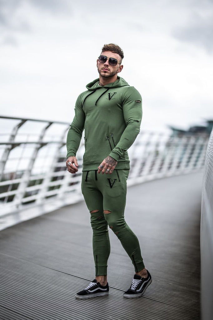Volé La Lumière Fitted Ripped And Zipped Joggers - Khaki
