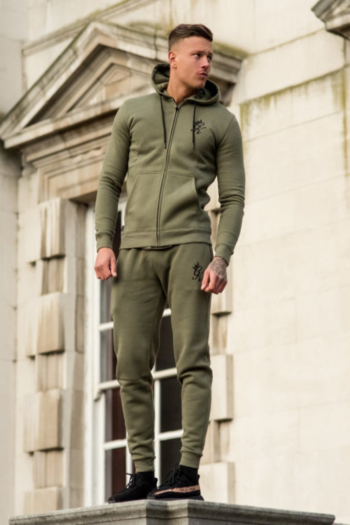 Gym King Tracksuit Zipped Hoodie - Burnt Olive