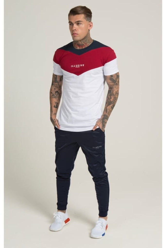 Illusive London Cut And Sew Scoop Tshirt - Red/White/Navy