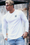 SikSilk Long Sleeve Gym Tshirt - White