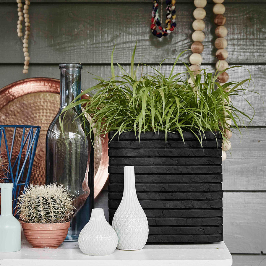 Capi Tutch Row Square Planter - Black