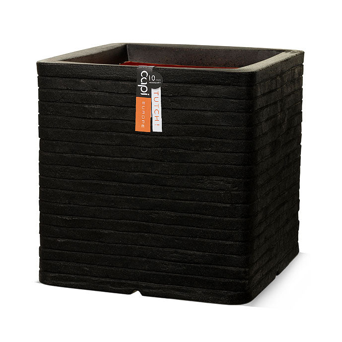 Capi Tutch Row Square Planter - Black 31 x 31 x 31