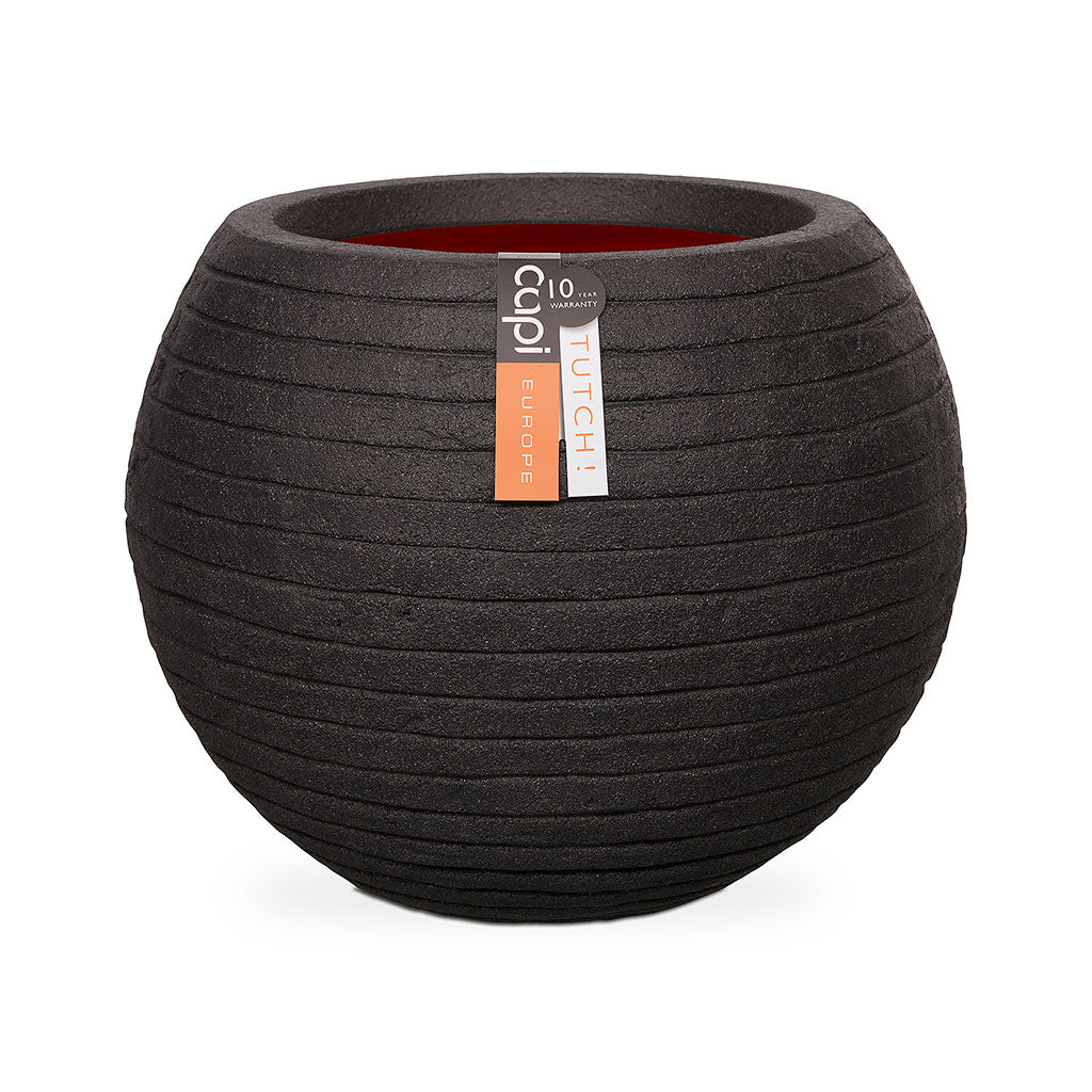 Capi Tutch Row Ball Plant Pot - Black 38 x 33cm