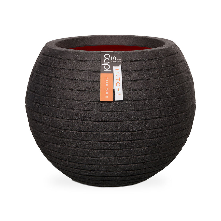 Capi Tutch Row Ball Plant Pot - Black