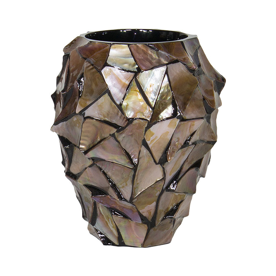 Shell Orchid Plant Pot - Brown Mother of Pearl 17 x 24cm