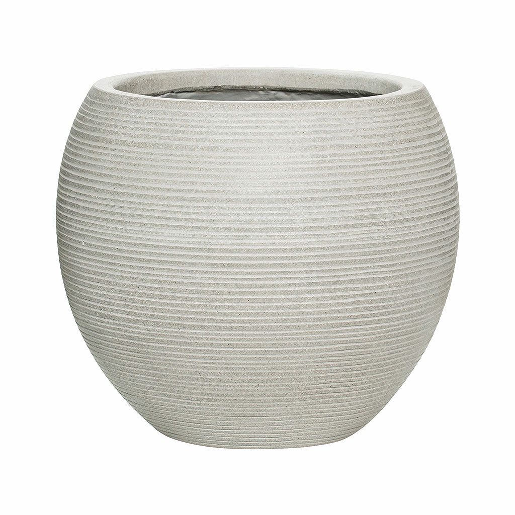 Abby Ball Plant Pot - Ridged Cement 23 x 20cm