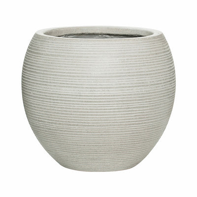Abby Ball Plant Pot - Ridged Cement 34.5 x 30cm