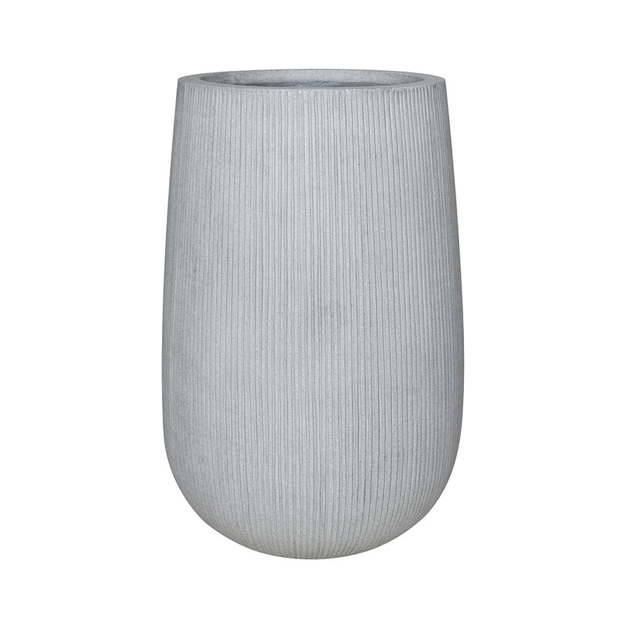 Patt High Plant Vase - Ridged Cement