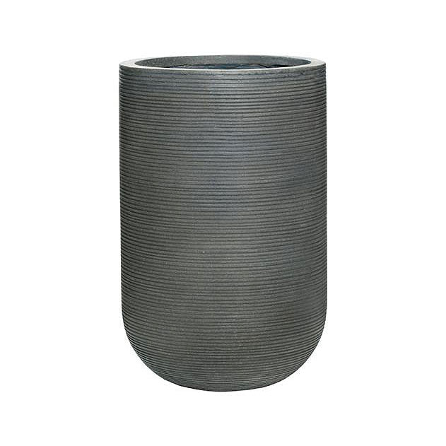 Cody Plant Vase - Ridged Dark Grey