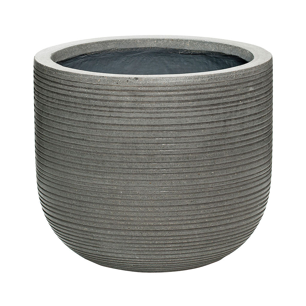 Dice Plant Pot - Ridged Dark Grey 28 x 25cm