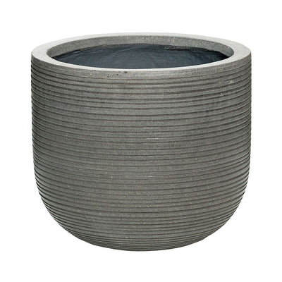 Dice Plant Pot - Ridged Dark Grey 35 x 31cm