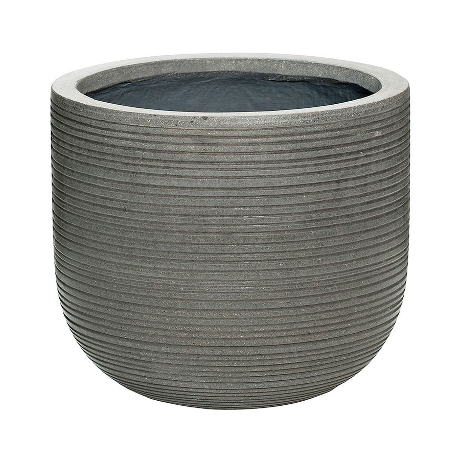 Dice Plant Pot - Ridged Dark Grey