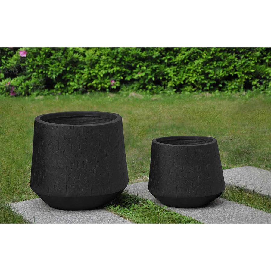 Raindrop Tube Round Planter - Black