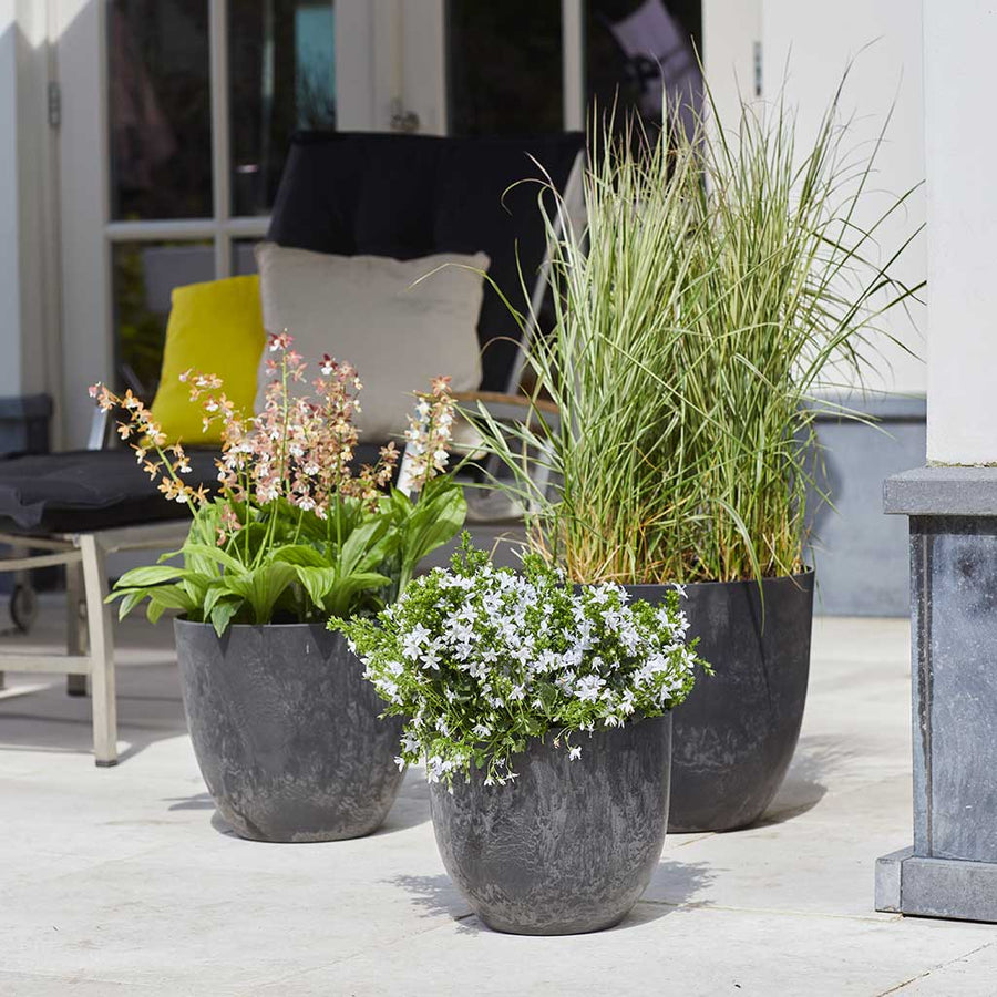 Bola Artstone Plant Pot - Black - Small Medium