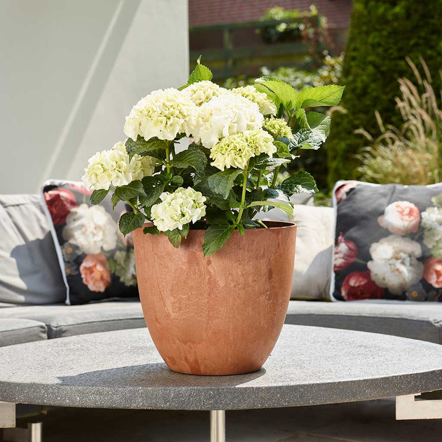 Bola Artstone Plant Pot - Rust - Small Medium