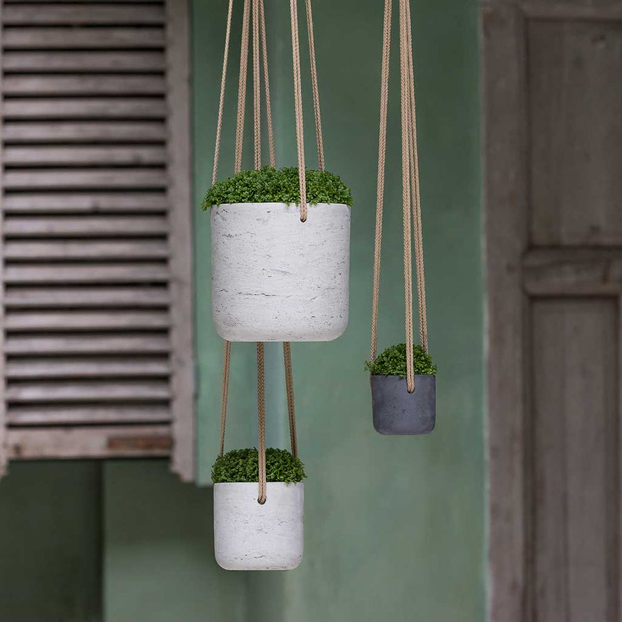 Charlie Hanging Plant Pot - Grey Washed - X Small