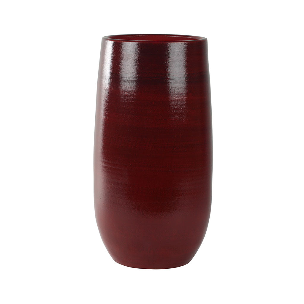 Cresta Tall Plant Vase - Deep Red