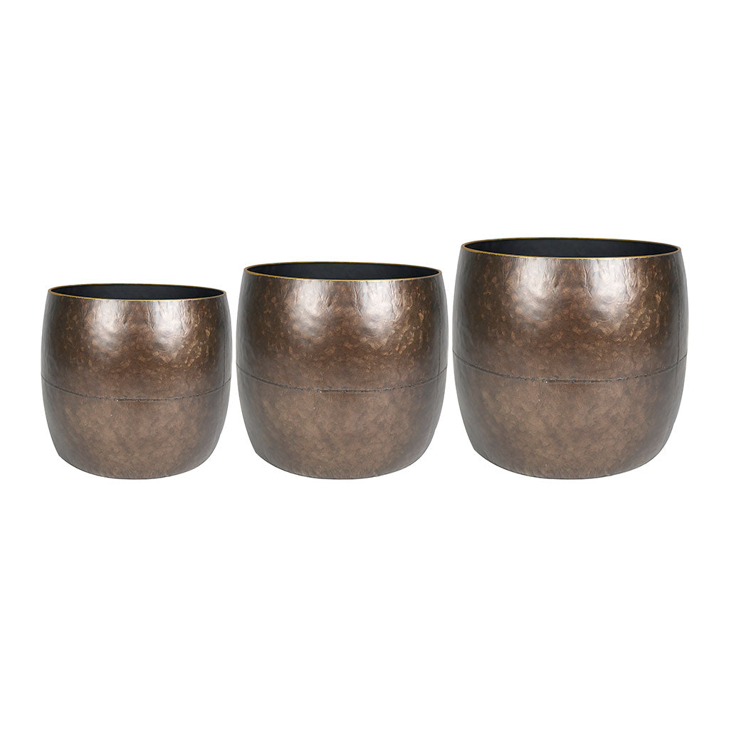 Dani Metal Plant Pots -3 Set - Brown