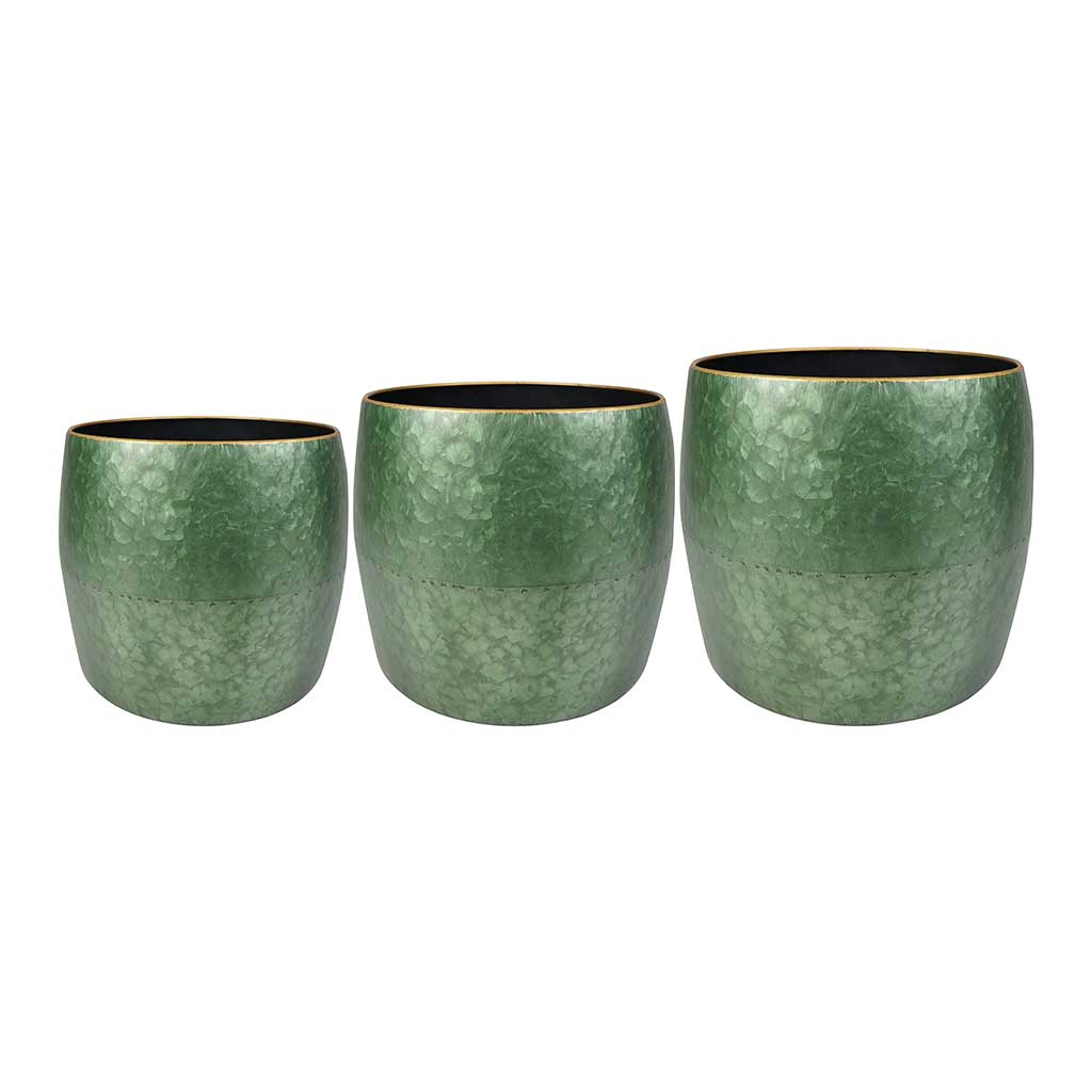 Dani Metal Plant Pots - Set of 3 - Green