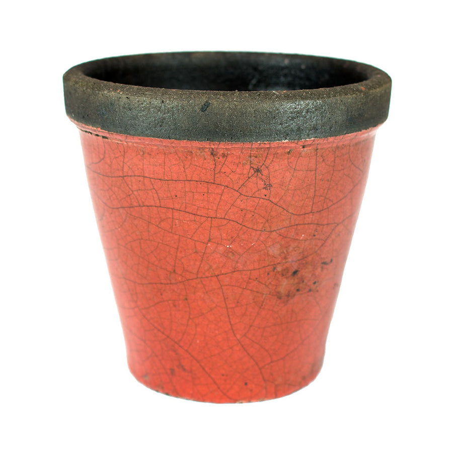 Domani Hanoi Raku Plant Pot - Earth Red - 12, 14cm