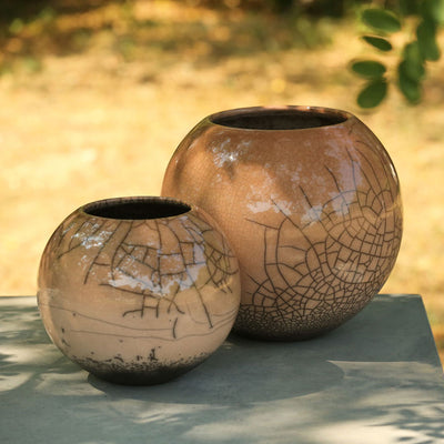 Lund Raku Ball Planter - Taupe